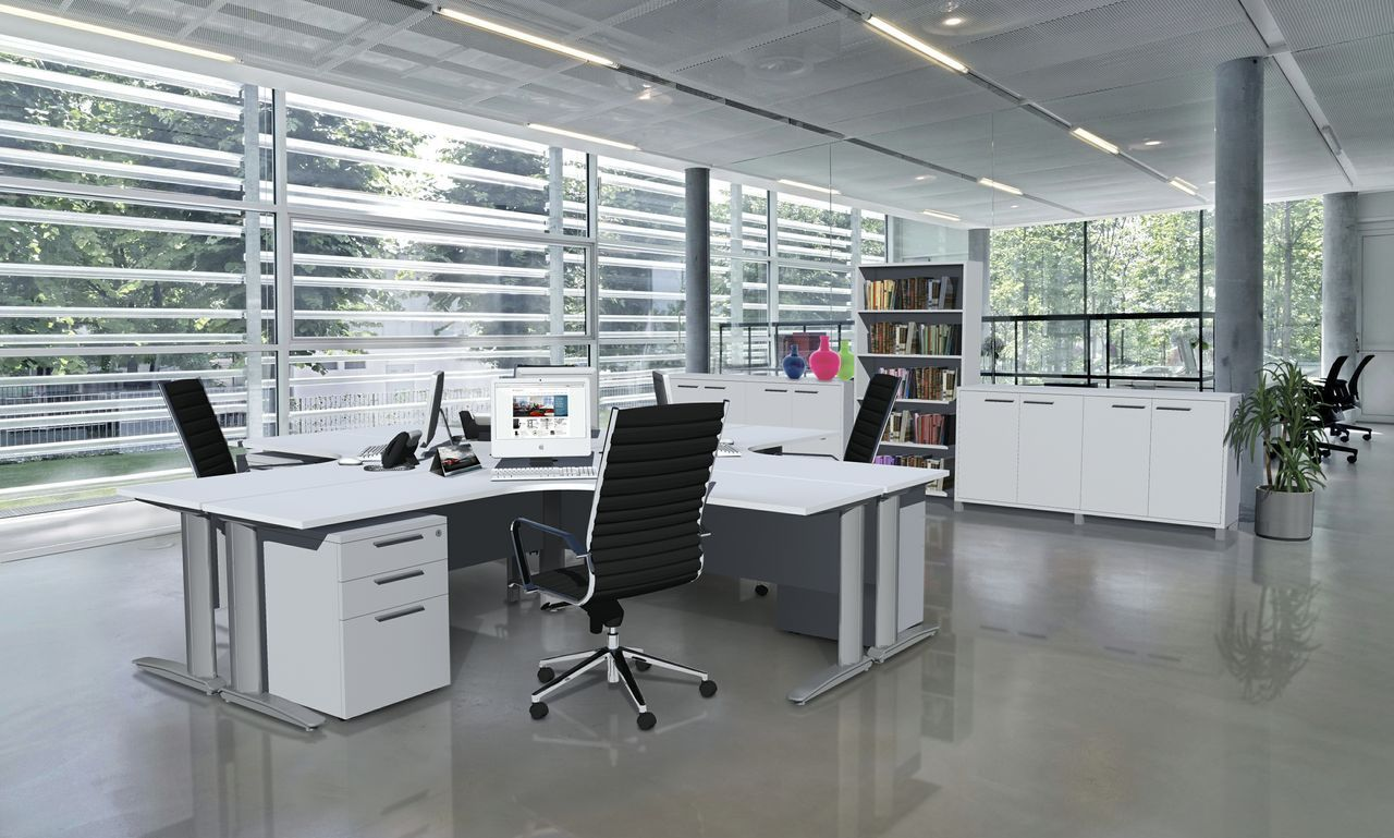 white-office-251 White Office Furniture Designs - Create Airy, Open Workspaces Future of Work