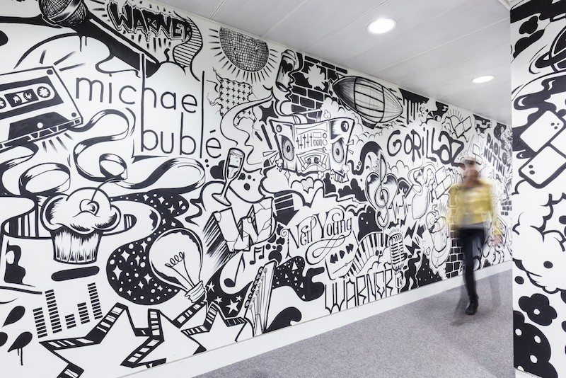 warner-music-office-design-13 9 Offices with Unforgettable Wall Art Design Design Ideas Inspiration